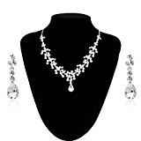 Malloom® Charm Wedding Bridal Rhinestone Crystal Necklace Earring Jewelry Set