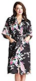 Aibrou Womens Long Satin Robes Peacock Blossoms Bridesmaid Kimono Robe Nightwear Bathrobe Dressing Gowns Black