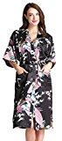 Aibrou Womens Long Satin Robes Peacock Blossoms Bridesmaid Kimono Robe Nightwear Bathrobe Dressing Gowns Black