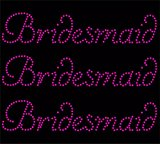 3 x Hot Pink Bridesmaid Wedding Diamante Rhinestone Transfer Iron on Bridesmaid transfer