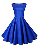 Anni Coco® Women's Classy Audrey Hepburn 1950s Vintage Rockabilly Swing Dress Blue Medium