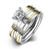 HMILYDYK Stainless Steel Couple Rings 2 Pcs A Set Cubic Zirconia Crystal Eternity Wedding Band Size 6 - 9