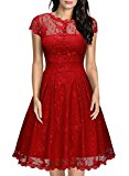 MIUSOL Women's Vintage 1950s Christmas Lace Overlay Ruffle Details Front Buttons Cap Sleeve Plunge Back Double Layer Swing Wedding Party Dress Bright Red Size Medium/UK 10