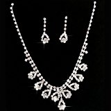 Gleader Bridal Diamante Jewellery Wedding Crystal Necklace Earrings Set