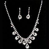 Gleader Bridal Diamante Jewellery Wedding Crystal Necklace Earrings Set