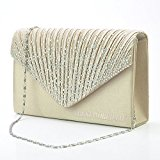 Wocharm (TM) Women's Diamonte Envelope Clutch Shoulder Bag Purse Womens Fashion Wedding Bridal Prom HandBags (Champagne)