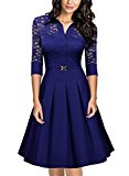 MIUSOL Women's Christmas Lace Contrast Straight Skirt Big Swing A Line Bright Blue Dress Medium/UK 10