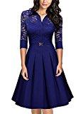 MIUSOL Women's Christmas Lace Contrast Straight Skirt Big Swing A Line Bright Blue Dress Medium/UK 10