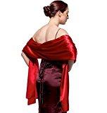 atopdress@200cmx 75cm soft satin Bridesmaid Bridal Bridesmaid Shawl Prom Wrap Draping Stole (200x 75cm, red)