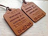 Adventure of a Lifetime Bride & Groom Personalised Handmade Tan Leather Luggage Tag Set (His & Hers Wedding Gift)