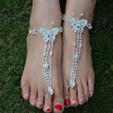 Spritech(TM) Bling Luxury Rhinestone Design Butterfly Instep Chains Barefoot Sandals Sexy Toe Ring Anklets for Beach Wedding Jewelry Bridesmaid Gift Design Random