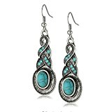 Yazilind Charming Ethnic Tibetan Silver Oval Rimous Turquoise Crystal Drop Dangle Earrings