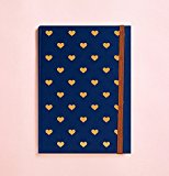 Heart Gold Foil Journal in Navy (Can be use as Diary or Planner)Notebook • Writing Journal • Diary • Bridesmaid Gift • Travel Planner • Travel Journal • To do List • Daily Planner • 2017