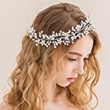 Bella Bridal Jewelry Fashion white pearl beads head chain