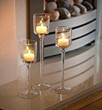 Set of 3 Elegant Tea Light Glass Candle Holders Wedding Table Centrepiece