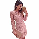 Womens Dresses,Clode® Fashion Ladies Pink Hollow Lace Long Sleeve Tunic Slim Mini Dress for Party ,Wedding,Evening (M, Pink)