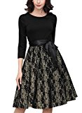 MIUSOL Women's Vintage 1940s Contrast Lace Floral Belted A Line Swing Casual Dress Black Size Small