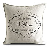 Mr and Mrs Personalised Cushion Cover Gift Valentines Day Wedding Anniversary Gift for Him Her Wife Husband UK Seller