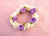 Pearl & Rose Bun Ring Scrunchie Hair Garland Bridesmaid (Purple)