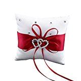 Bluelans® Double-Heart Rhinestone Wedding Ring Pillow Cushion Bearer Red