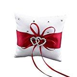 Bluelans® Double-Heart Rhinestone Wedding Ring Pillow Cushion Bearer Red