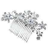 Bridal Wedding Flower Crystal Rhinestones Pearls Women Hair Clip Comb