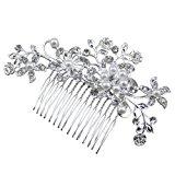 Bridal Wedding Flower Crystal Rhinestones Pearls Women Hair Clip Comb