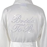 Wedding Day Rhinestone Satin Ivory Bride To Be Bathrobe Personalised Diamante Dressing gown Kimono