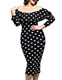 Cfanny Women's Long Sleeves Polka Dot Off-shoulder Plus Size Party Dress,Black,2X