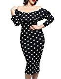 Cfanny Women's Long Sleeves Polka Dot Off-shoulder Plus Size Party Dress,Black,2X