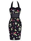 Knee-Length Floral Halter Cotton 50's Vintage Classy Wedding Dresses Floral 1# (6)