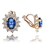 Yoursfs Wedding Clip-on Earrings for Bridal Sapphire Crystal Dress Jewellery for Lady 18ct Rose Gold Plated Earrings