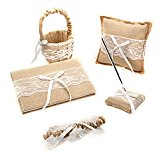 Eyekepper Burlap Hessian Lace Wedding Guest Book& Pen Set Ring Pillow Flower Basket Garter BridalFavors Khaki