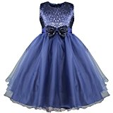 iEFiEL Flower Girls' Dresses Sequins Bow Sleeveless Party Wedding Formal Bridesmaid Dress Navy Blue 2 Years