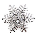 Hosaire 1X Stylish Elegant Christmas Snowflake Diamond Wedding Bridal Pin Brooches For Women Girls Jewelry (Silver)