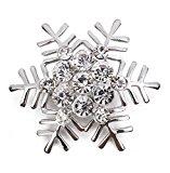 Hosaire 1X Stylish Elegant Christmas Snowflake Diamond Wedding Bridal Pin Brooches For Women Girls Jewelry (Silver)