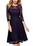 MIUSOL Women's Vintage 1950s Lace Flower Illusion 3/4 Sleeve Evening Party Swing Dress Blue Size Medium