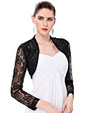 Women's Black Floral Lace Crochet Bolero Shrug Top XL YF049-1