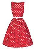 Lmeison Women's Classic Audrey Hepburn Chiffon Polka Dot Swing 50's Party Dress