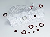 Beautiful Wedding Bridal Garter Set- White Satin And Lace with Crystalised Heart - Beautifully Presented in a Silver Organza Bag with Love Hearts Confetti and Gift Card - Free Delivery To Uk