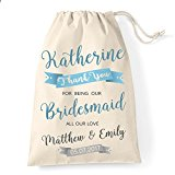Medium Personalised Bridesmaid cotton drawstring bag banner design