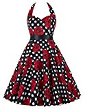 Yafex Vintage 1950s Floral Halterneck Retro Pin Cocktail Dresses Audrey Hepburn Style  Medium Black Red