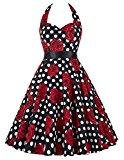Yafex Vintage 1950s Floral Halterneck Retro Pin Cocktail Dresses Audrey Hepburn Style  Medium Black Red