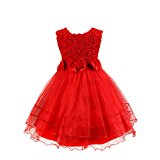 Discoball Girls Rose Flower Bow Tie Princess Party Dress Tulle Wedding Bridesmaid Christening Dress Perfect Birthday Gift For Girls Age (Red,1-2 years)