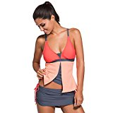 MEINICE Colorblock Tankini Skort Bottom Swimsuit(OrangePink,M)