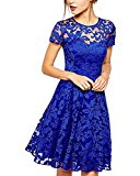 ZANZEA Women's Sexy Casual Summer Lace Round Neck Short Sleeve Princess Dress Party Ball Gown Blue US 12