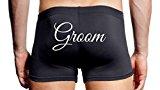 Mens Wedding day Boxer shorts, Black, Groom (M)
