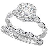 Ladies Ring - Halo Design 2 Piece Round Cut Genuine 925 Sterling Silver Luxury Unique Wedding Engagement Bridal Ring Set N