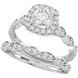 Ladies Ring - Halo Design 2 Piece Round Cut Genuine 925 Sterling Silver Luxury Unique Wedding Engagement Bridal Ring Set N