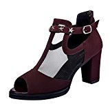 F&Q Real Balck Friday Women's Elegant Peep-Toe Mesh Buckle Block Heel Pump Sandal (3.5 UK,Red)